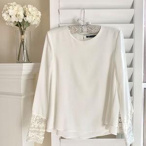 NWT! Zara Trafaluc layered blouse with lace cuffs